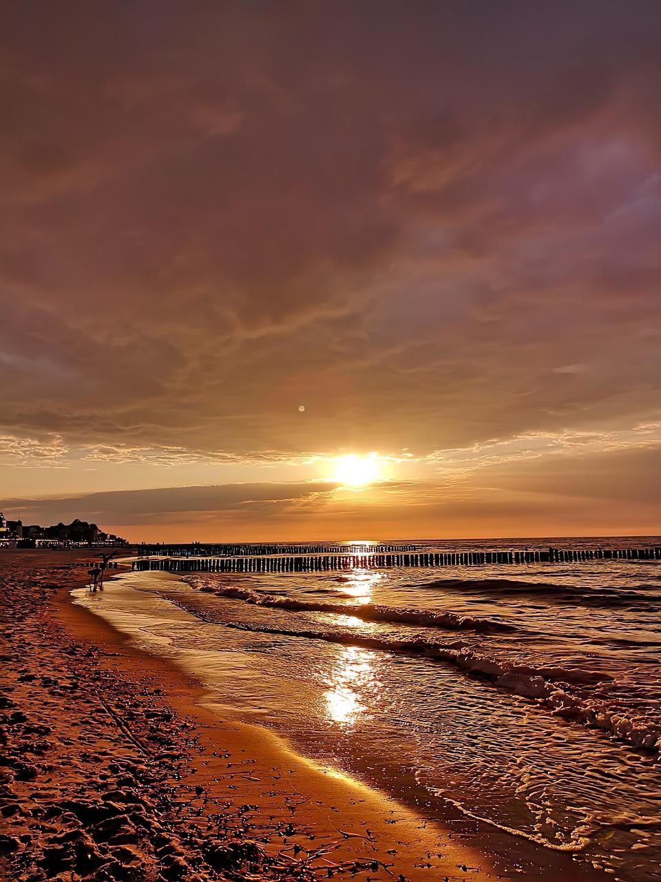 море пляж закат фото