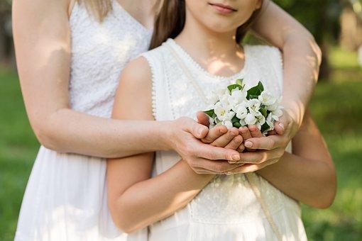お母さん, 娘, 女の子, 家族, 女性, 日, 公園, 開花, 親, 幸せ