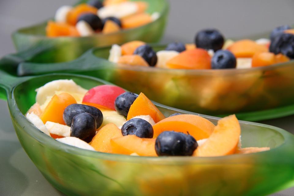 Insalata, Frutta, Mirtillo, Albicocca, Banana, Ananas