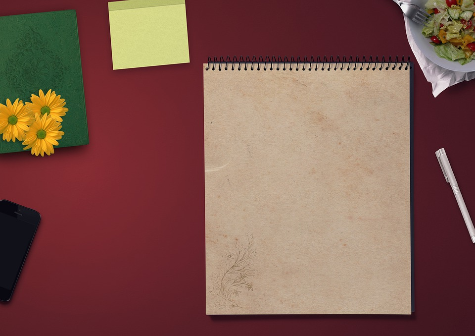 メモ帳, テーブル, Iphone, 装飾, 貴族, 紙, サラダ, フォーク, 手書きパッド, ライター