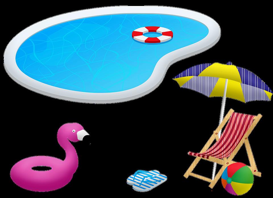 Schwimmbad, Stuhl Und Sonnenschirm, Flotation
