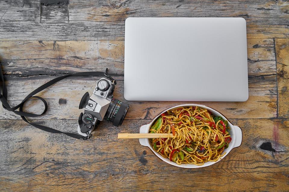 Noodle, Pasta, Laptop, Retro, Photographer, Camera