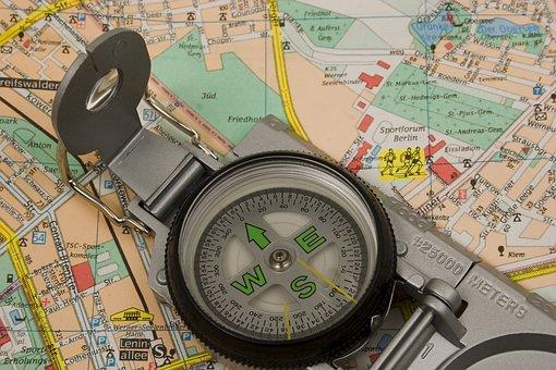 地図, 方位磁針, 旅行, 観光, ナビ, 冒険, アンティーク, 南