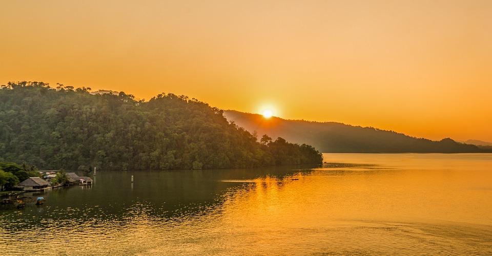 Zachód Słońca, Gwatemala, Karaiby, Góry, Natura