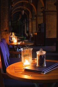 Kerzen, Tisch, Bistro, Kerzenlicht