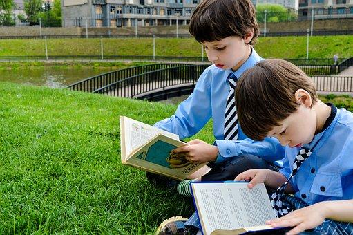 読む, 図書, 芝生, 公園, 学ぶ, 調査, 読書, 赤ちゃん, 子供