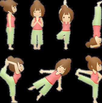 Yoga, Girl, Pose, Cartoon, Woman