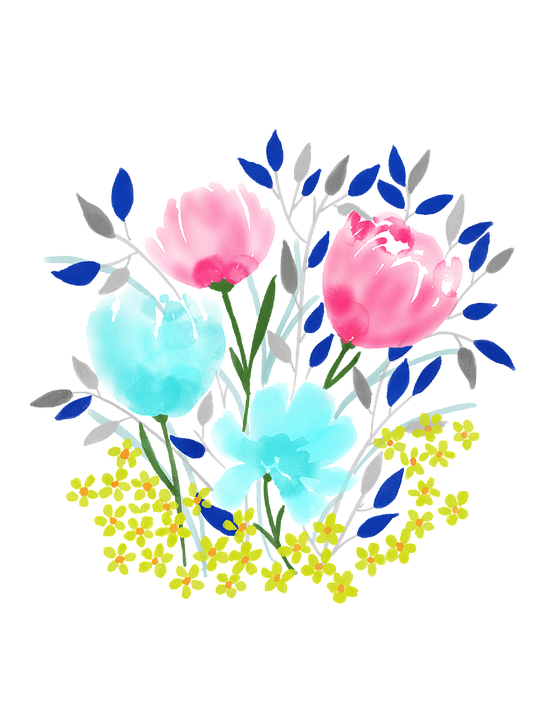 Watercolour Flowers, Spring, Nature, Floral, Watercolor