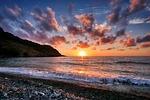 zachód słońca, morze, niebo