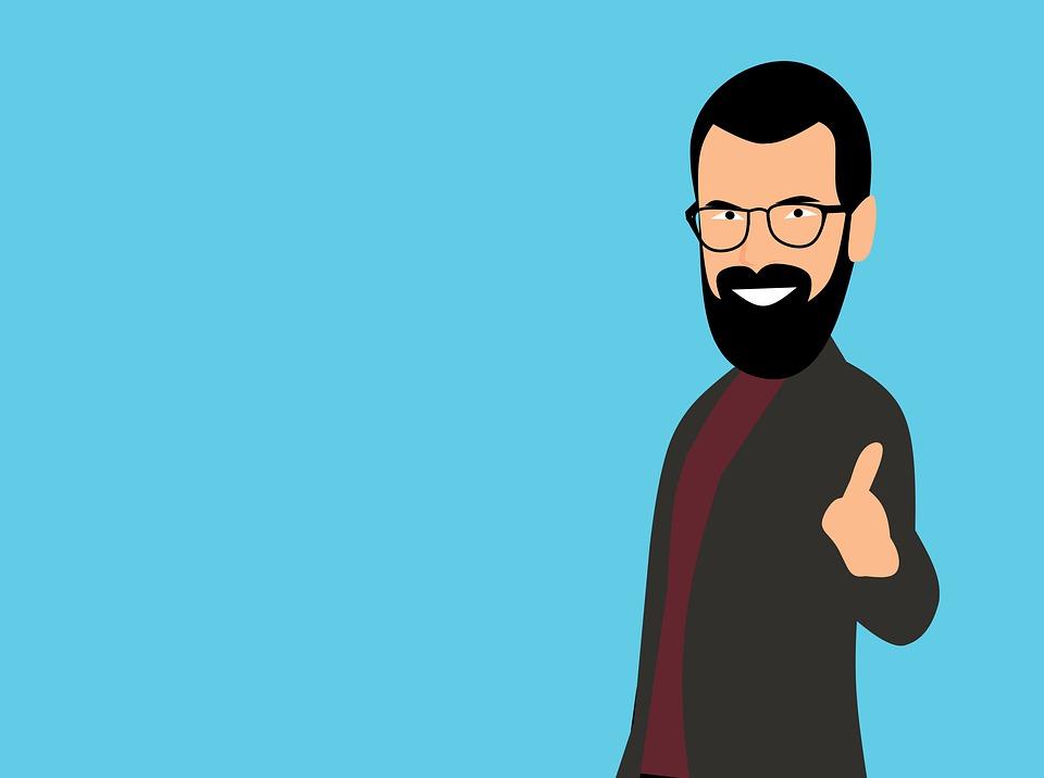 にこやか, 髭, 男, ビジネス, クール, 式, 漫画, 指, ジェスチャ, メガネ, 良い, ハンサムです