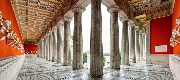 Ruhmeshalle, Büsten, Säulen, Skulptur