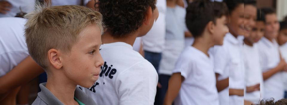 Einschulung, 초등학교, 학교 아이 들, 소년, 해외 학교, 금발의, 학교, 균일 한