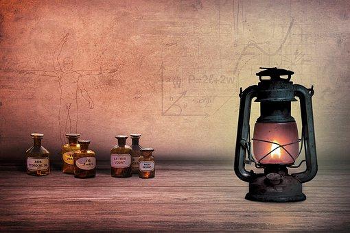 Composing, Öllampe, Alchemist