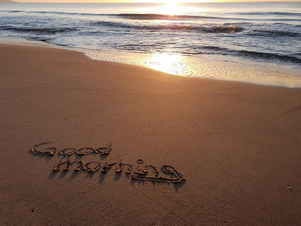 Guten Morgen Strand Schrift Kostenloses Foto Auf Pixabay