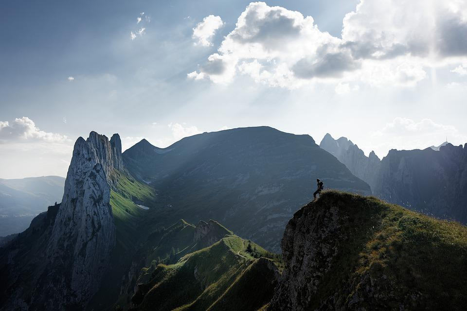 Switzerland, Alpine, Mountain, Man, Hike, Sky, Clouds