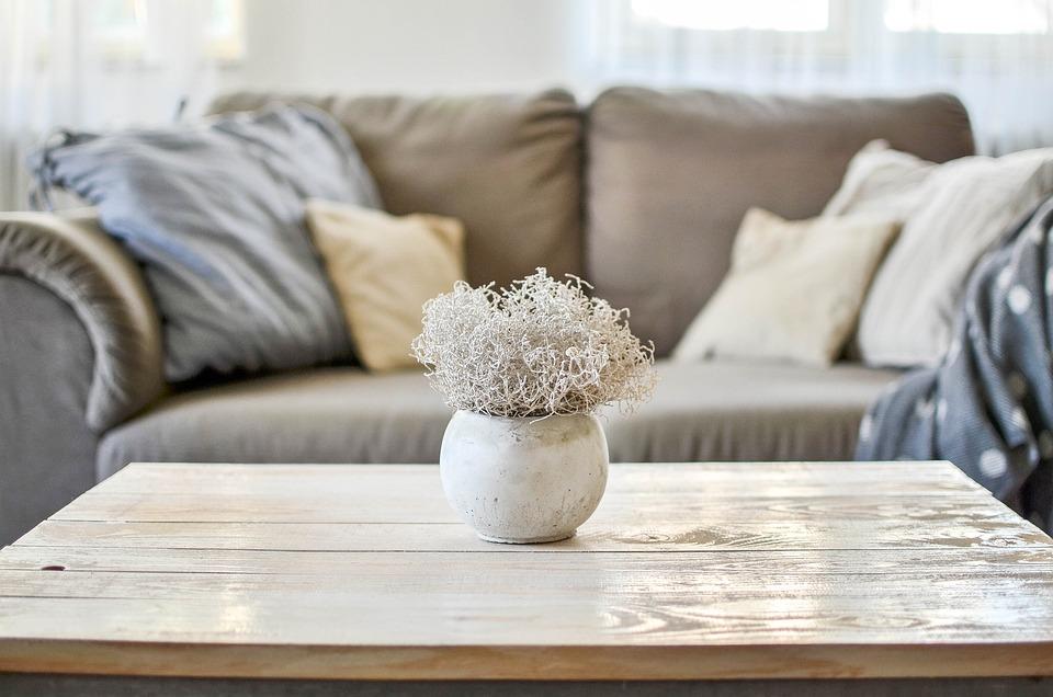 ホーム, 住宅, インテリア、, 装飾, 家具, リビングルーム, ルーム, コンクリート, 花瓶, 詳細