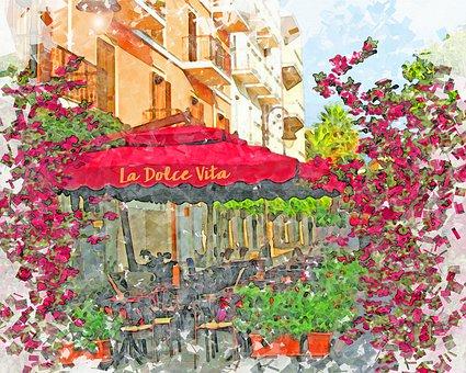 Italian Restaurant, Italy, Watercolor