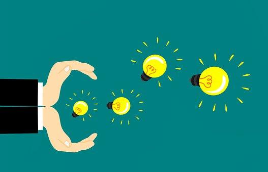 アイデア, 創造性, 技術革新, 手, インスピレーション, 白熱, 実業家