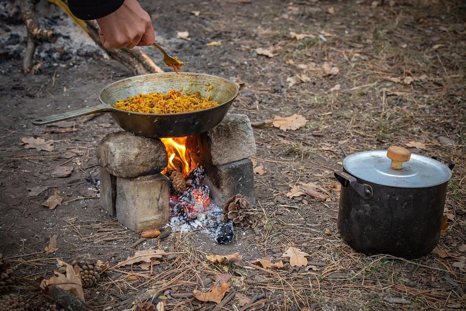 Picnic, Bonfire, Pilaf, Food, Frying Pan, Vacation