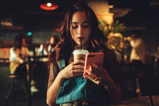 女性, コーヒー, 電話, 肖像画, バー, 通り, 女の子
