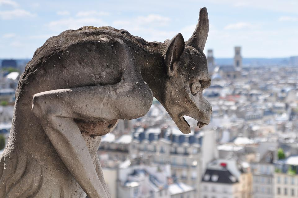 Statue, Gargoyle, Notre Dame, Paris, Cathedral, Gothic