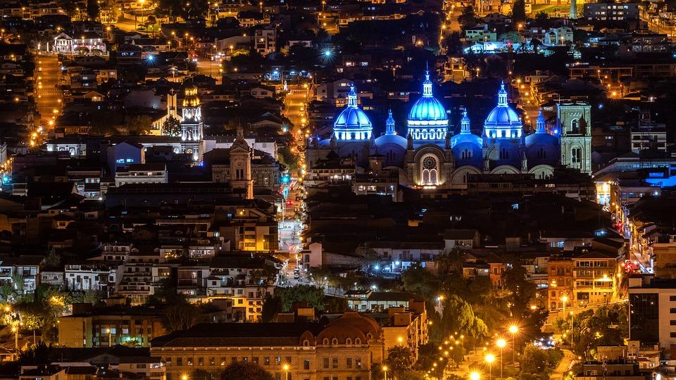 Ecuador, Cuenca, Noche Fotografía, Catedral
