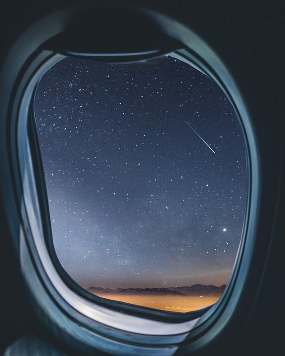 Airplane, Window, Milkyway, Shootingstar, Meteorid, Sky