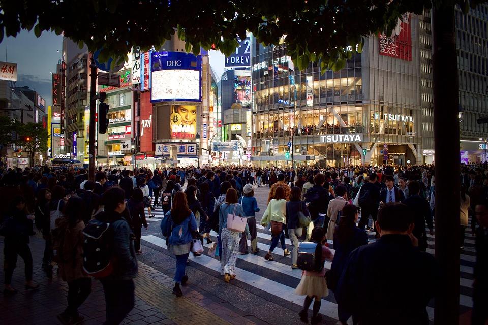 日本, 人間, 東京, 夜, ライト