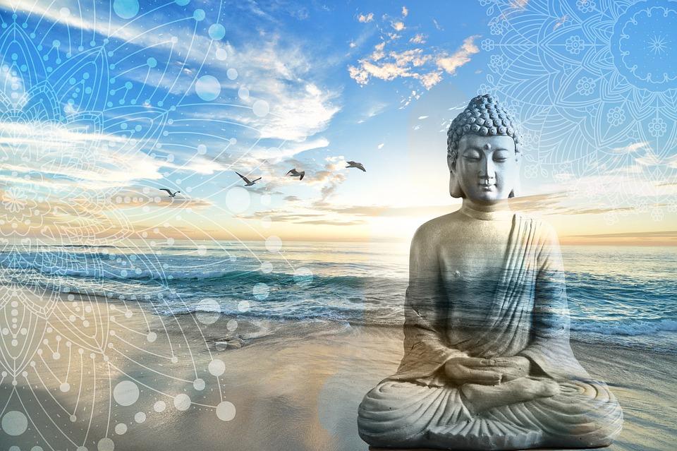 Buddha, Fantazie, Zen, Mandala, Mer, Nebe, Krajiny