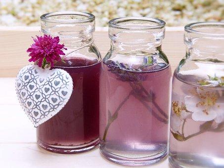 Wasser, Flaschen, Gläser, Farben, Duft
