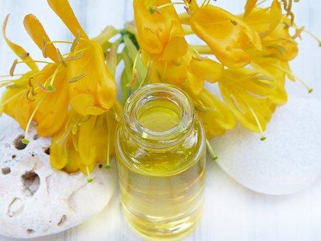 Oil, Glass, Bottle, Honeysuckle, Yellow