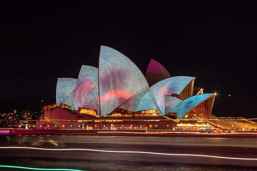 Sydney, Opera, House, Illuminated, Night