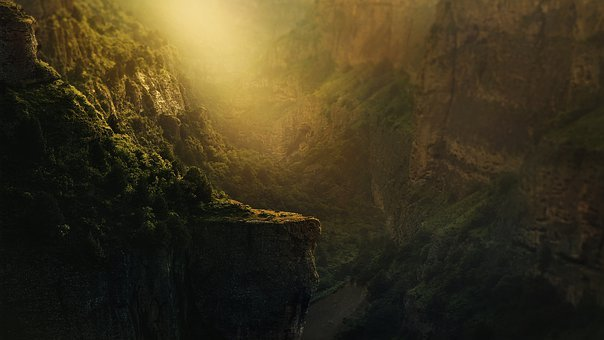 Background, Canyon, Gorge, Abyss, Trees