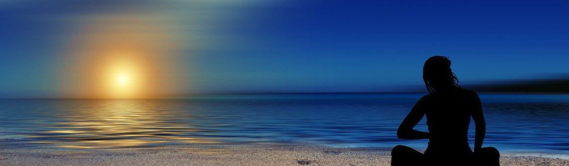 Meditation, Woman, Silhouette, Beach