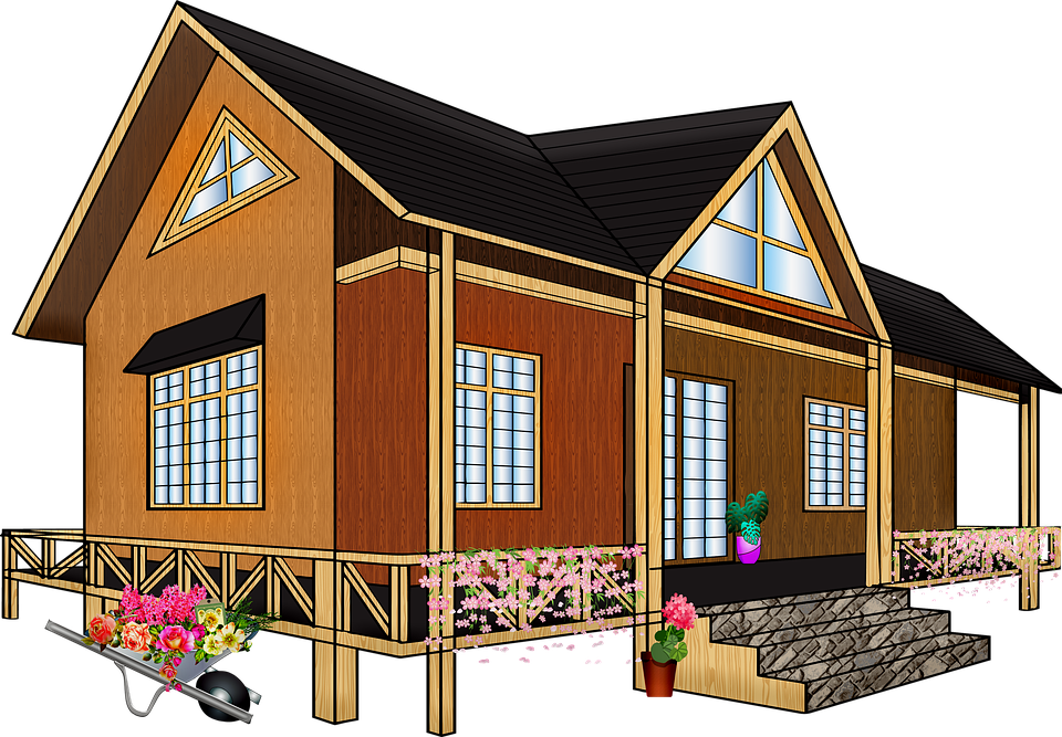 Wooden House, Home, Real Estate, Flowers, Blossoms
