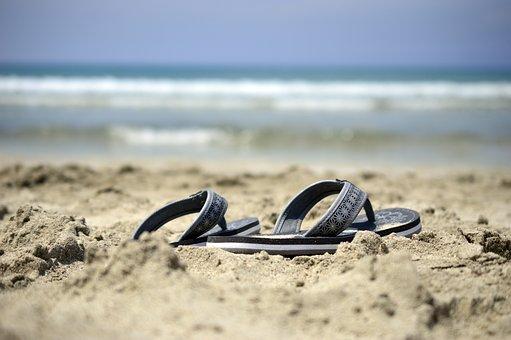 サンダル, フリップフロップ, フリップフ ロップ, 靴, ビーチ, 海, 砂