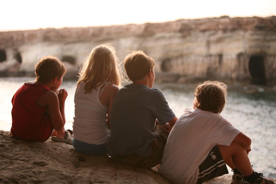 Contemplando, Amizade, Amigos, Crianças, Menina