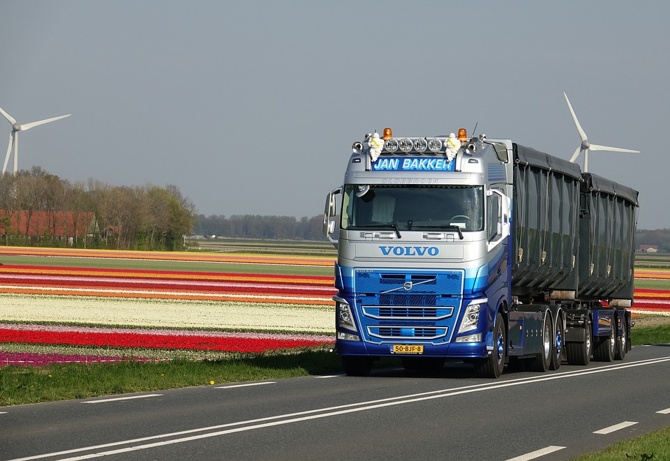 Samochód Ciężarowy, Volvo, Ciężarówka, Pojazd, Tulipany