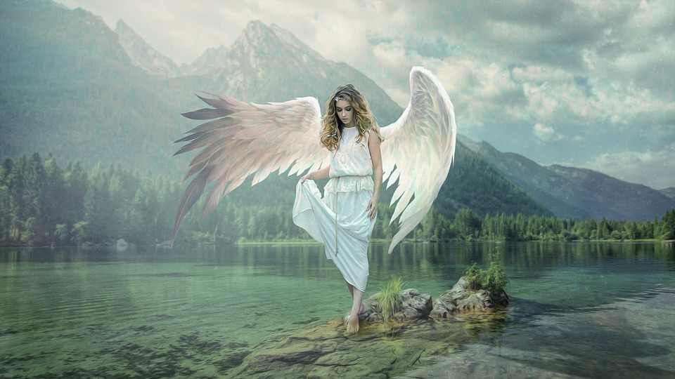 Angel, Lake, Nature, Wing, Water, Mirroring, Romantic