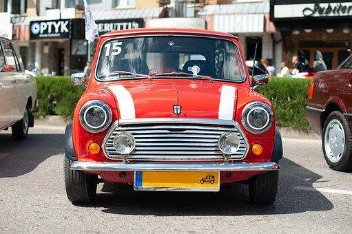 車, ミニ, 赤, アイコンを, 自動, 車両, 自動車, 豪華な, 古典的な