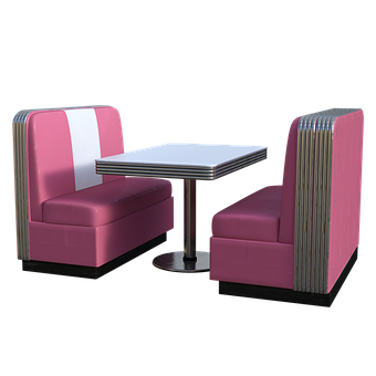 Dining, Booth, Pink, Table, Seats