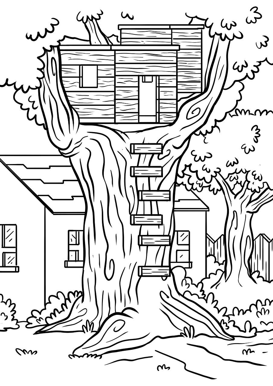 Rumah Pohon Mewarnai Halaman Gambar Gratis Di Pixabay