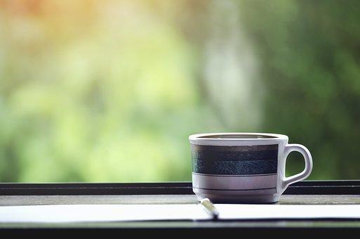 エスプレッソ, 休み, 寛, テーブル, 煙, 窓, コーヒー, 木造, 食品