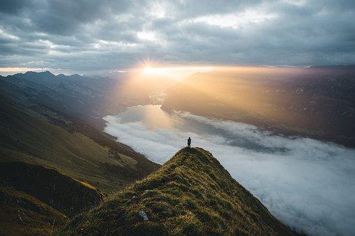 Switzerland, Sunrise, Sun, Landscape