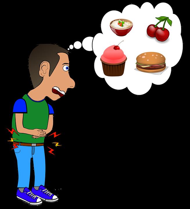 ハンガー, 食べる, 空腹, コミック, 食品, は, 食欲, フル, 1 つ, 食品の摂取量