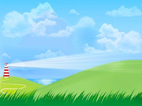 海風景, 光ハウス, 空, 雲, 灯台, 光, 海, 海岸, 警告, 建物
