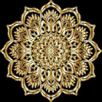 Mandala, Gold, Floral, Flourish