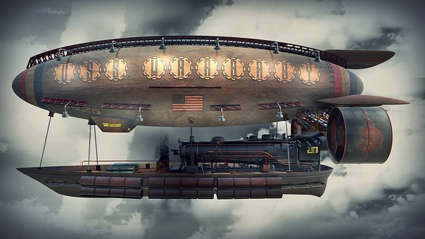 Steampunk, conceito, avião, dirigível
