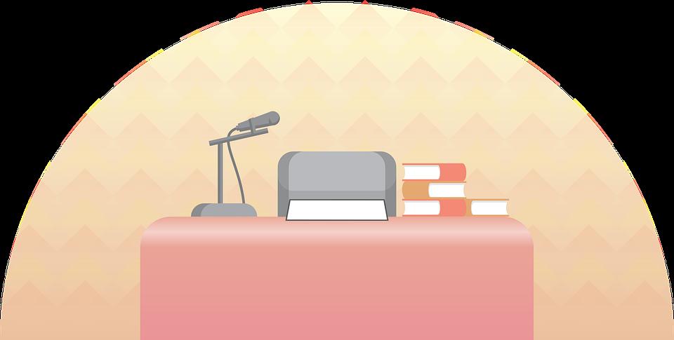 Micrófono, Mesa, Libro, Discurso, Estudio