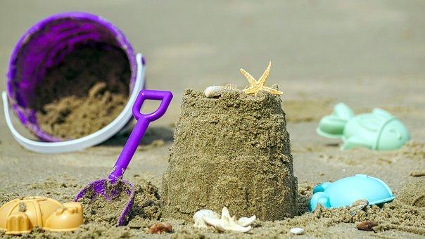 Sandspielzeug, Sandburg, Strand, Sand